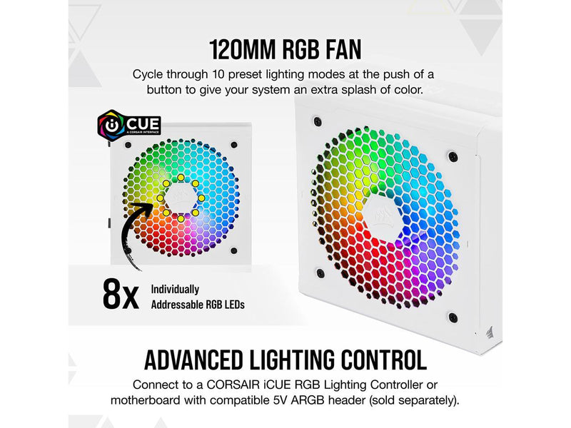 CORSAIR CX-F RGB Series CX650F RGB White 650W 80 PLUS Bronze Fully Modular ATX Power Supply, CP-9020226-NA