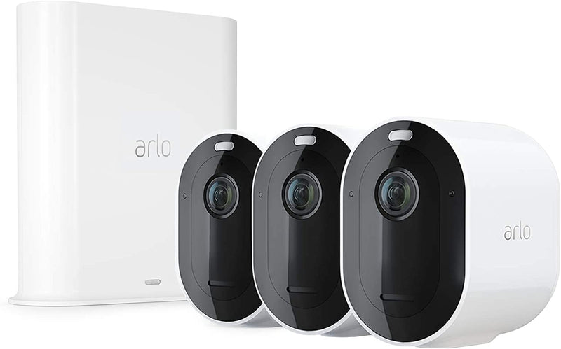 Arlo Pro 3 - Wire-Free Security 3 Camera System, 2K Resolution with HDR, 160° View, Indoor/Outdoor, Color Night Vision, Spotlight, 2-Way Audio, Rechargeable Battery, Siren VMS4340P-100NAS