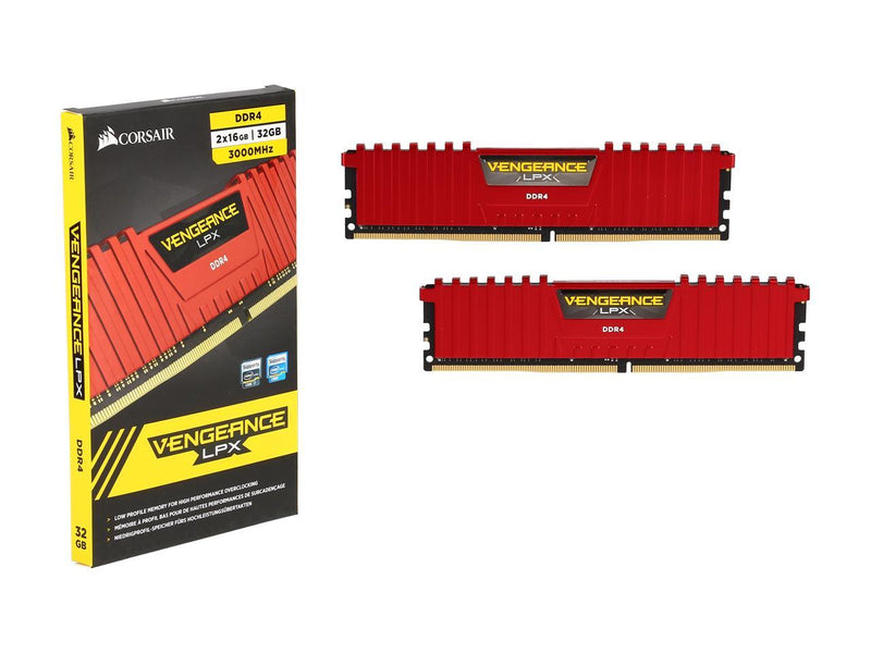 CORSAIR Vengeance LPX 32GB (2 x 16GB) 288-Pin DDR4 SDRAM DDR4 3000 (PC4 24000) Desktop Memory Model CMK32GX4M2B3000C15R