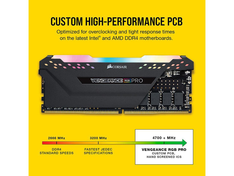 CORSAIR Vengeance RGB Pro 64GB (4 x 16GB) 288-Pin DDR4 SDRAM DDR4 2666 (PC4 21300) Desktop Memory Model CMW64GX4M4A2666C16