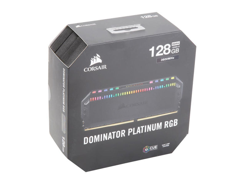 CORSAIR Dominator Platinum RGB 128GB (8 x 16GB) DDR4 3600 (PC4 28800) Desktop Memory Model CMT128GX4M8X3600C18