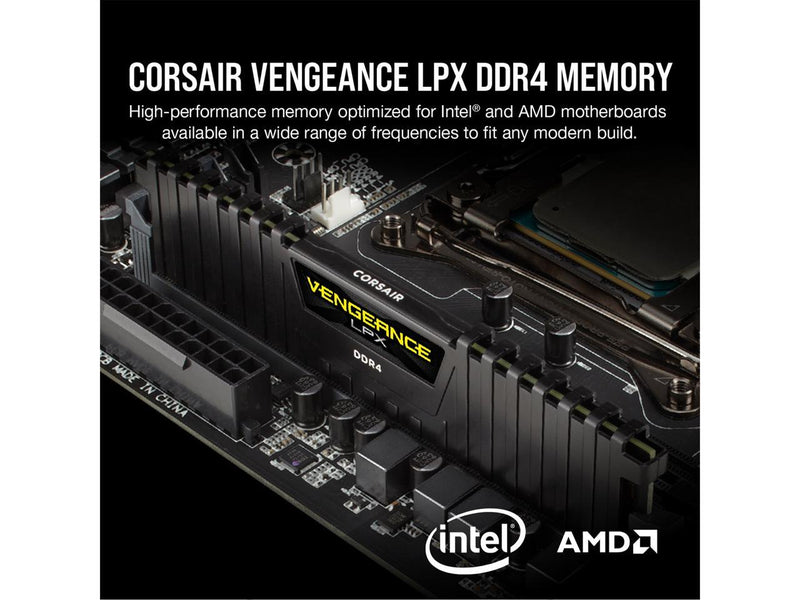 CORSAIR Vengeance LPX 16GB (2 x 8GB) 288-Pin DDR4 SDRAM DDR4 3600 (PC4 28800) Intel XMP 2.0 Desktop Memory Model CMK16GX4M2D3600C18