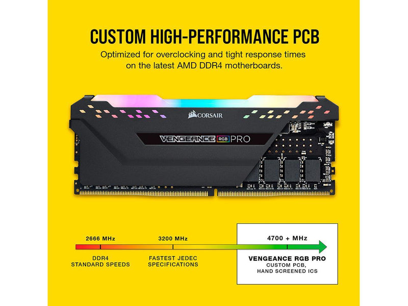 CORSAIR Vengeance RGB Pro (AMD Ryzen Ready) 32GB (2 x 16GB) 288-Pin DDR4 3600 (PC4 28800) Intel XMP 2.0 Desktop Memory Model CMW32GX4M2Z3600C18