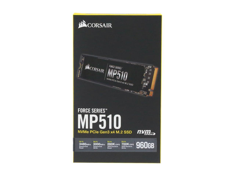 Corsair Force MP510 M.2 2280 960GB PCI-Express 3.0 x4, NVMe 1.3 3D TLC Internal Solid State Drive (SSD) CSSD-F960GBMP510B