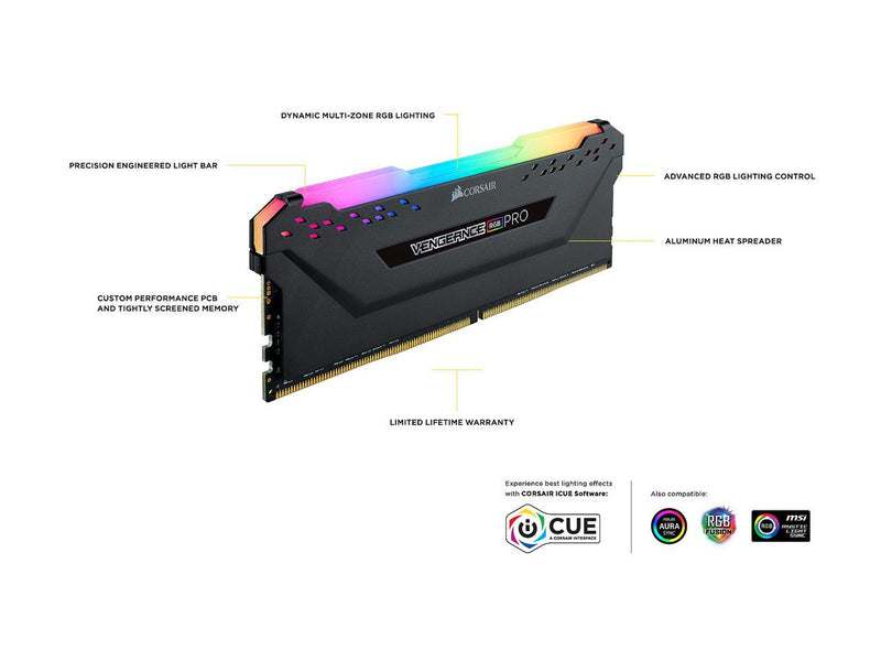 CORSAIR Vengeance RGB Pro (AMD Ryzen Ready) 8GB 288-Pin DDR4 3600 (PC4 28800) Desktop Memory Model CMW8GX4M1Z3600C18