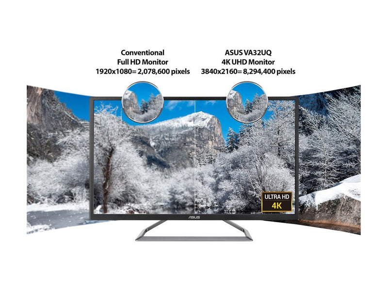 "ASUS VA32UQ 32"" (Actual size 31.5"") Eye Care Monitor, 3840 x 2160 4K UHD, HDR-10, 95% DCI-P3, Adaptive-Sync/FreeSync, Shadow Boost, Flicker Free, Blue Light Filter"