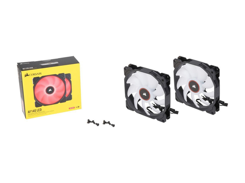 Corsair AF Series AF140 LED (2018) CO-9050089-WW 140mm Red LED Case Fan, 2-Pack