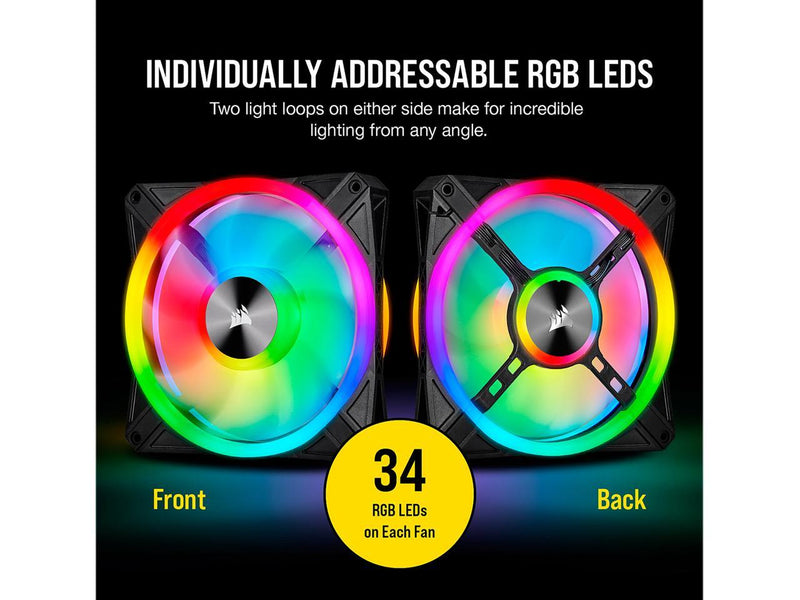 CORSAIR QL Series, iCUE QL140 RGB, 140mm RGB LED Fan, Dual Pack with Lighting Node CORE, CO-9050100-WW