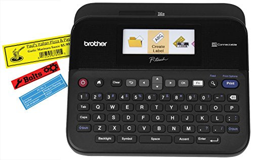 Brother P-touch Label Maker, PC-Connectable Labeler, Color Display, High-Resolution PC Printing, Black, Black/gray PTD600