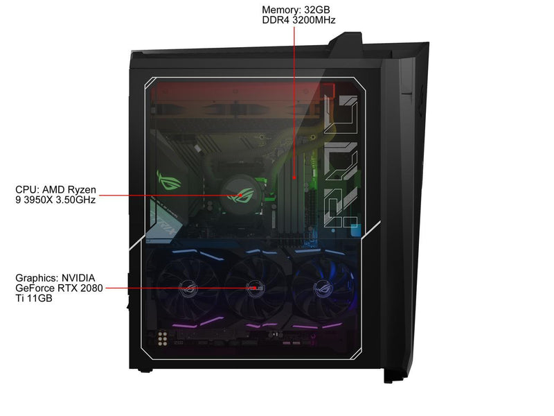 ASUS Gaming Desktop ROG Strix GA35DX-XS99X Ryzen 9 3rd Gen 3950X (3.50 GHz) 32 GB DDR4 2 TB HDD 1 TB SSD NVIDIA GeForce RTX 2080 Ti Windows 10 Pro 64-bit