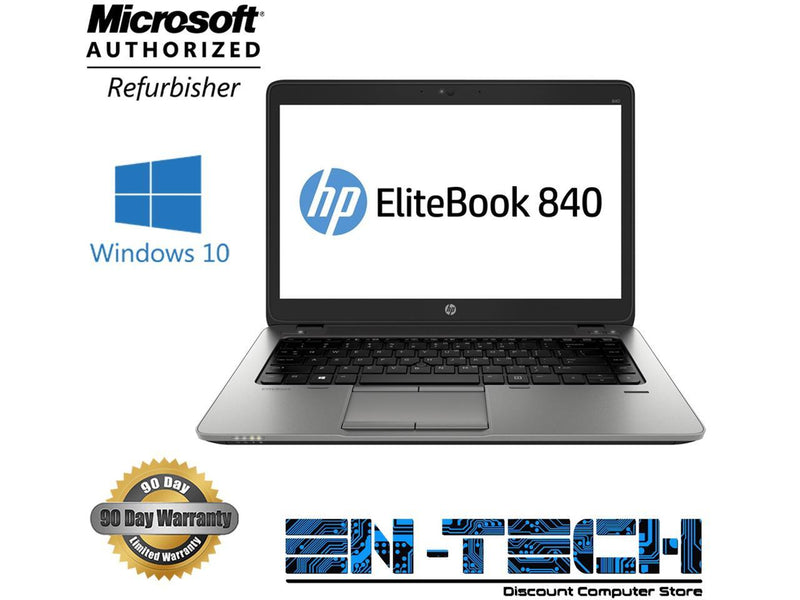 "HP Elitebook 840 G2 14.0"" Laptop - Intel Core i5 5300U 5th Gen 2.3 GHz 8GB 256GB SSD Windows 10 Pro 64-Bit - Webcam"
