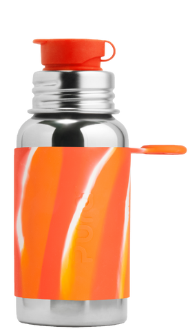 Pura Stainless - Big Mouth® Sport 18oz Bottle With Orange Swirl Sleeve