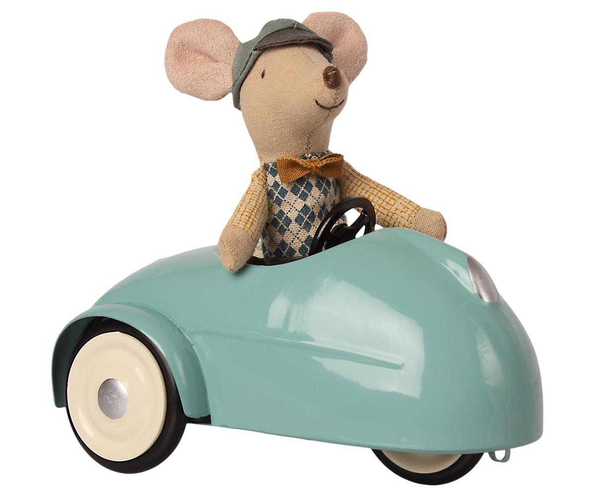 Maileg mouse with blue car and garage
