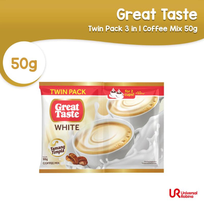 Great Taste White Twin Pack 3 in 1 Coffee Mix 50G