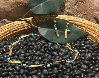 Golden grass and turquoise necklace set