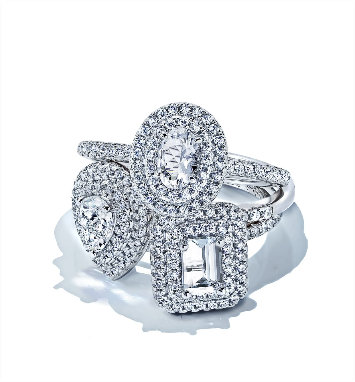 Diamond rings with white stones