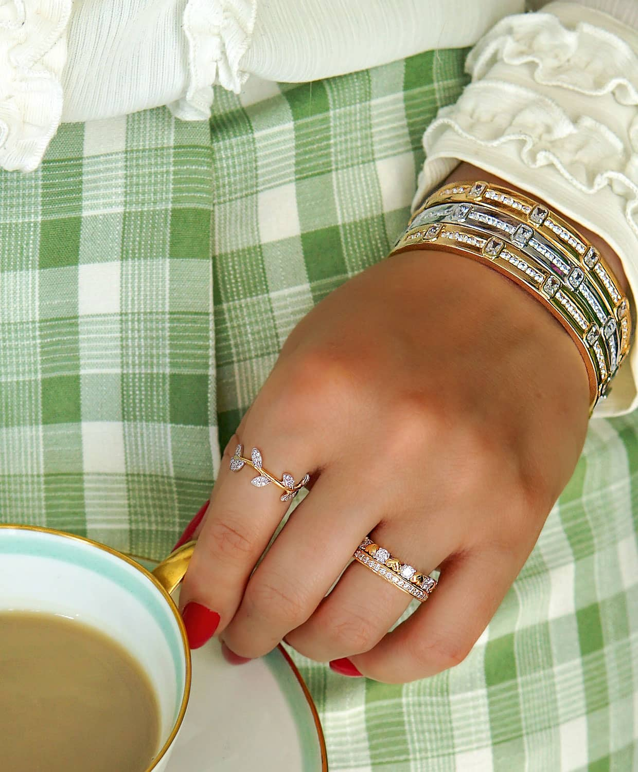 Close up of rings with a cup