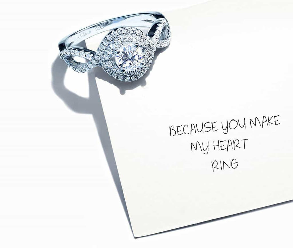Ring on a personal note with written text