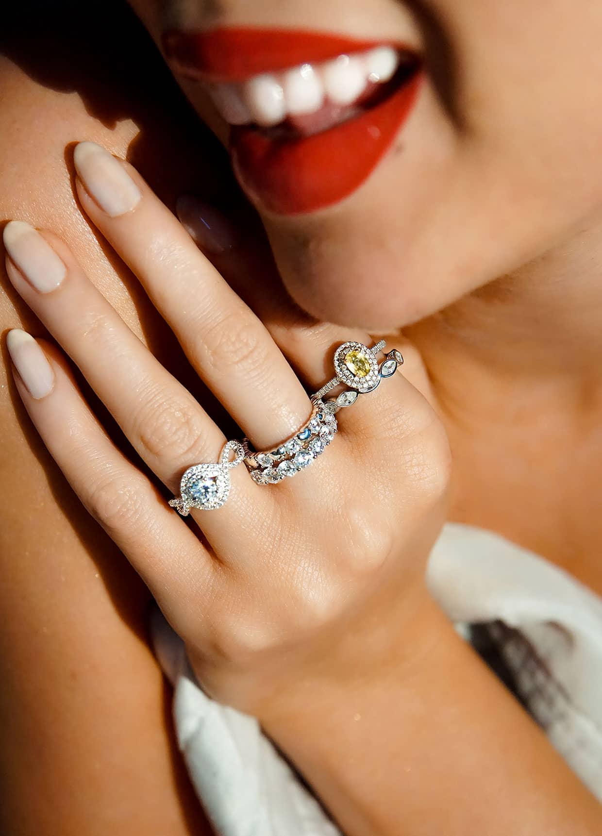 Close up of lips and rings