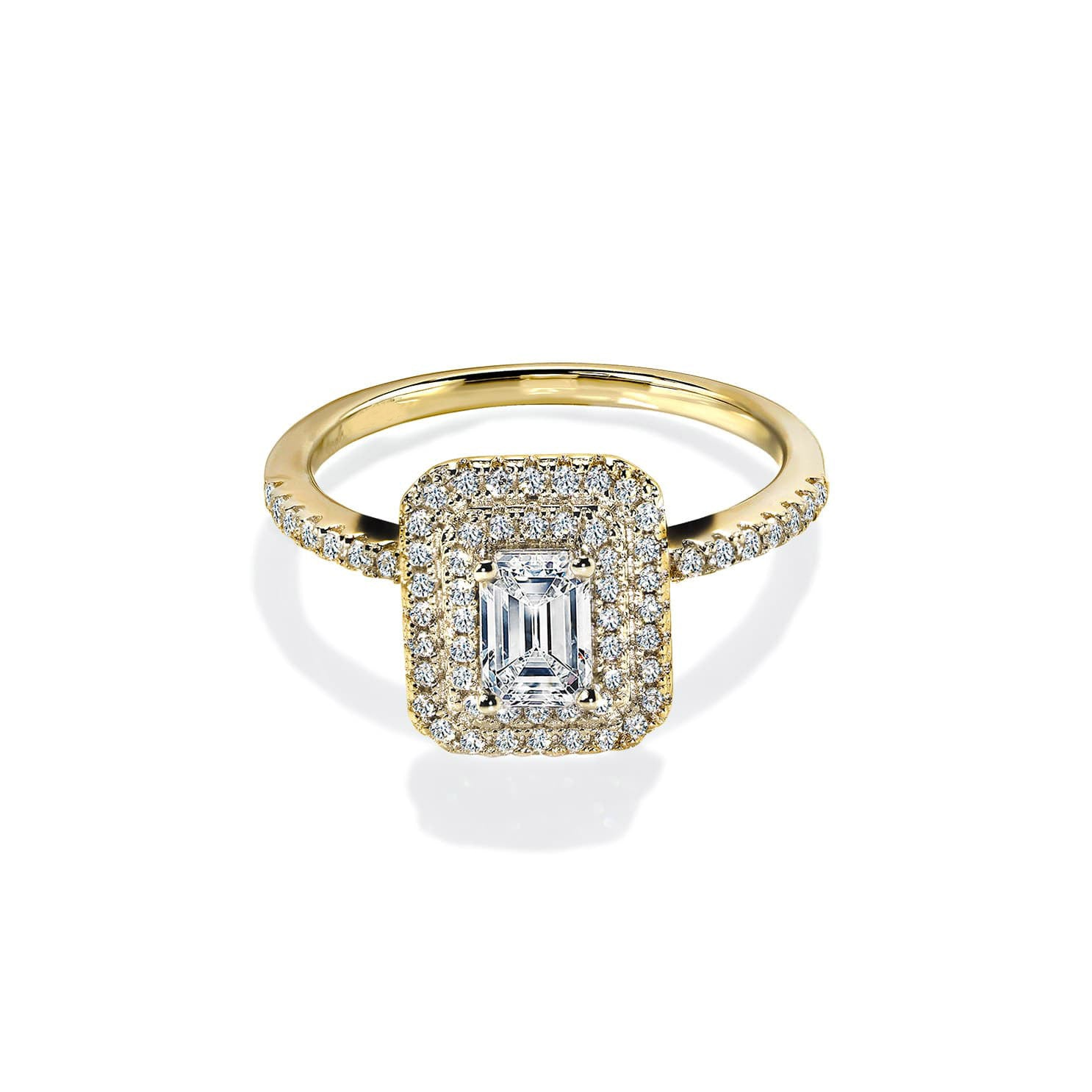 Diamond Double Emerald White Sapphire Gold Ring