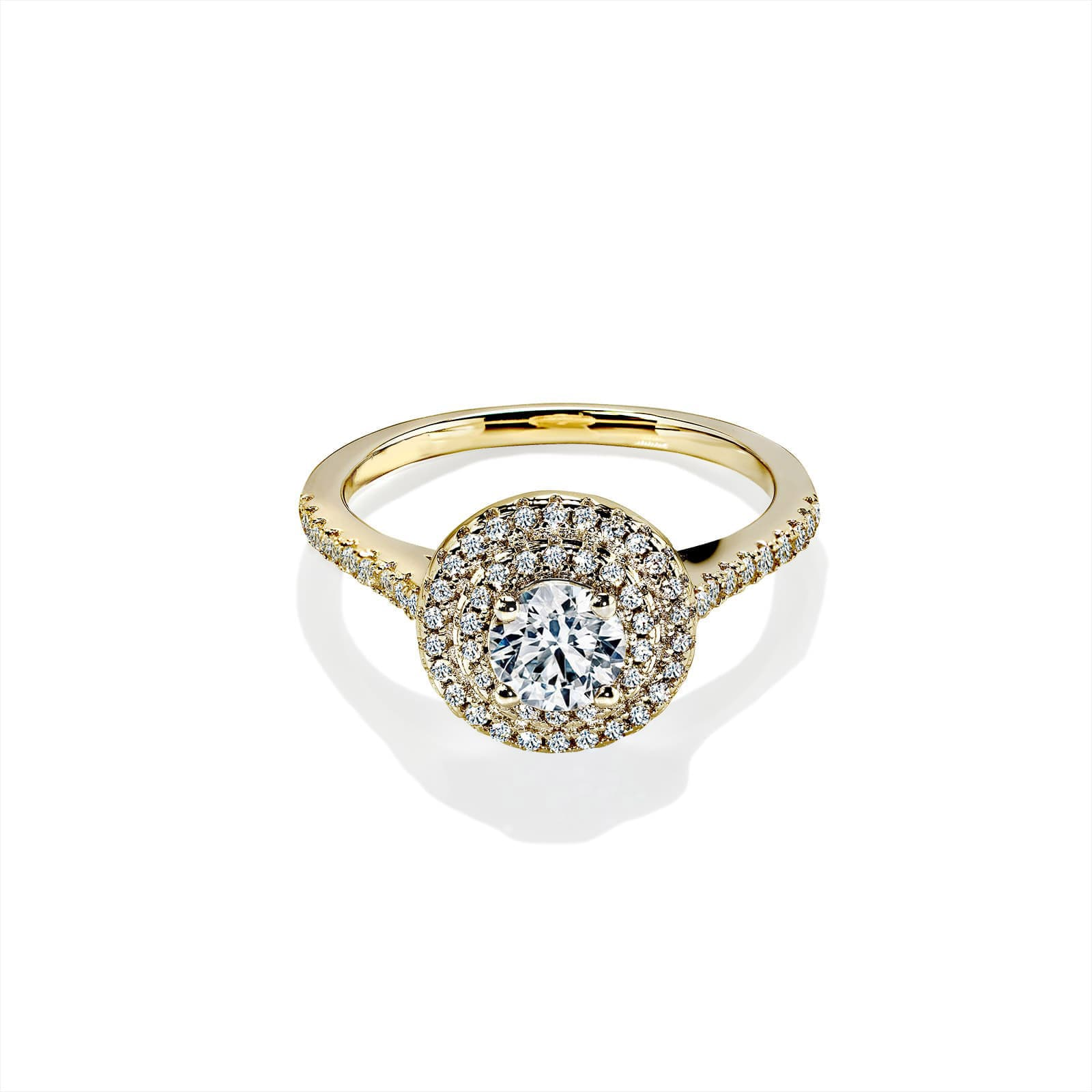 Diamond Double Halo Round Sapphire Gold Ring