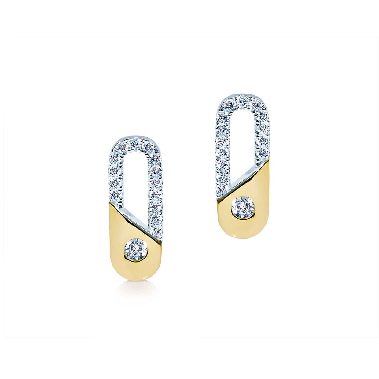 Abelstedt A Silver & Gold Clip Earrings - Abelstedt