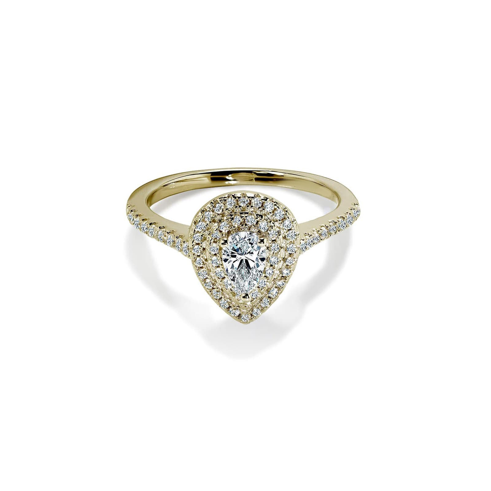 Diamond Double Pear Cut White Sapphire Gold Ring