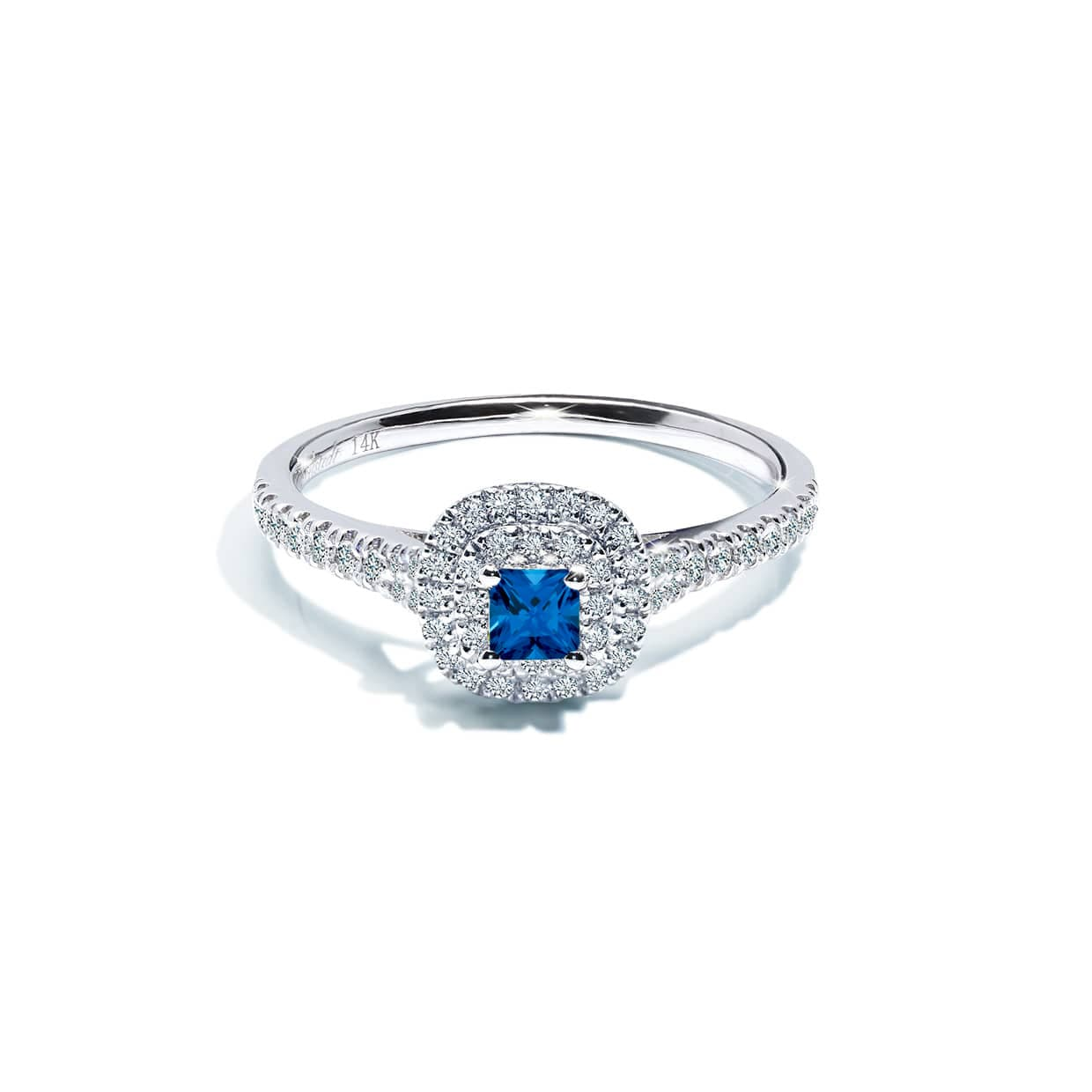 Diamond Double Blue Cushion Ring - Abelstedt