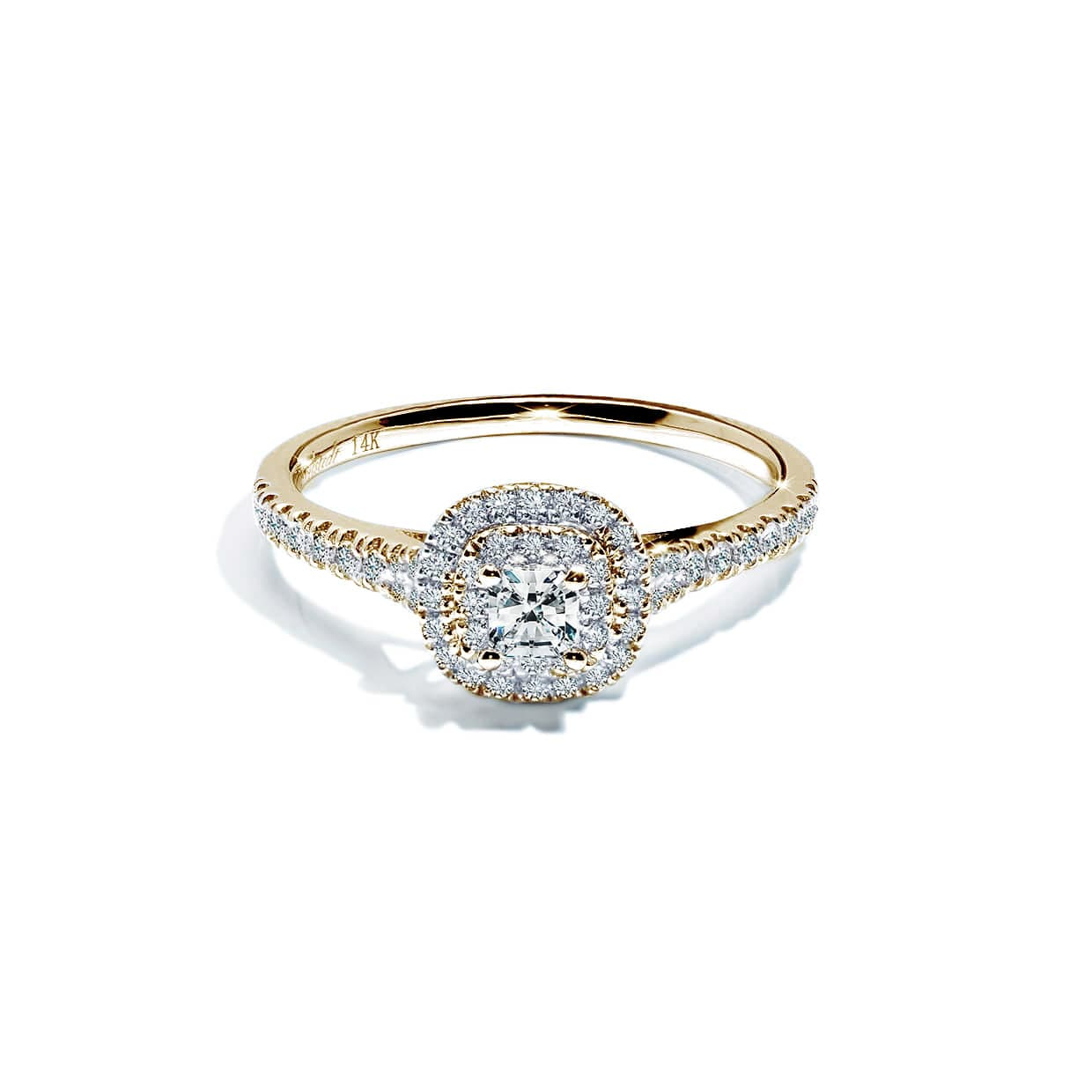 Diamond Double Yellow Cushion Gold Ring