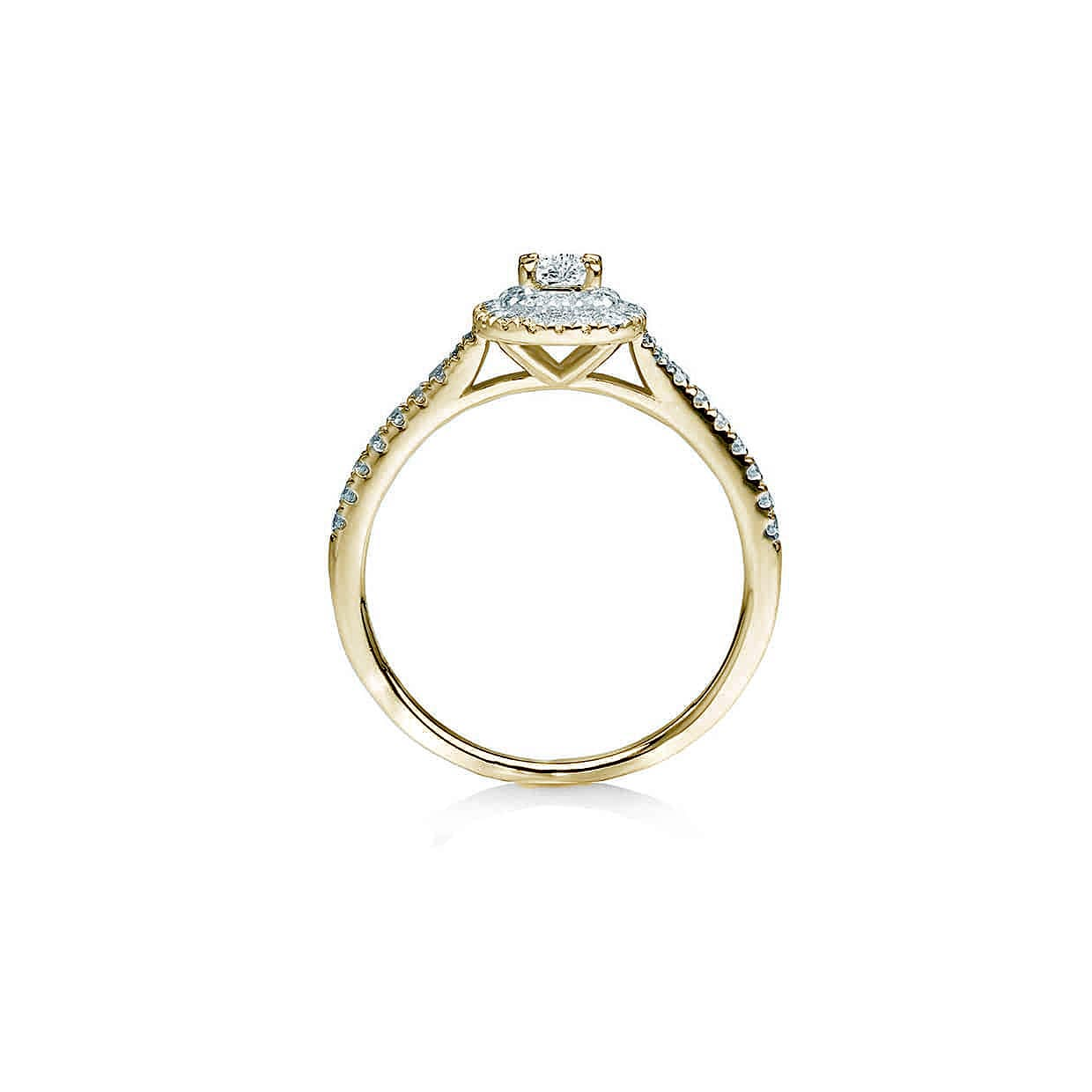 Oxford Double Halo Gold Plated Radiant Ring