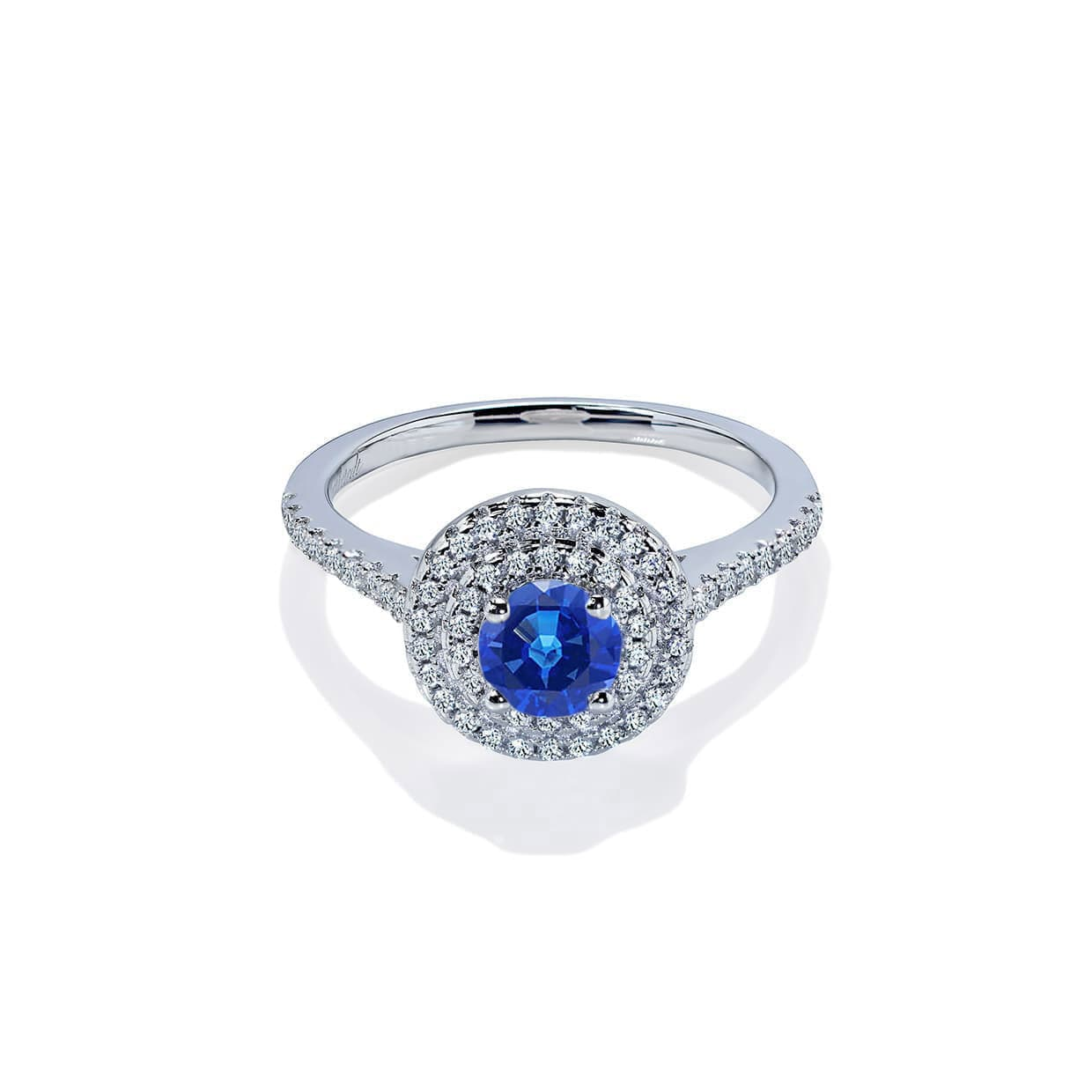 Diamond Double Halo Round Blue Sapphire Ring - Abelstedt