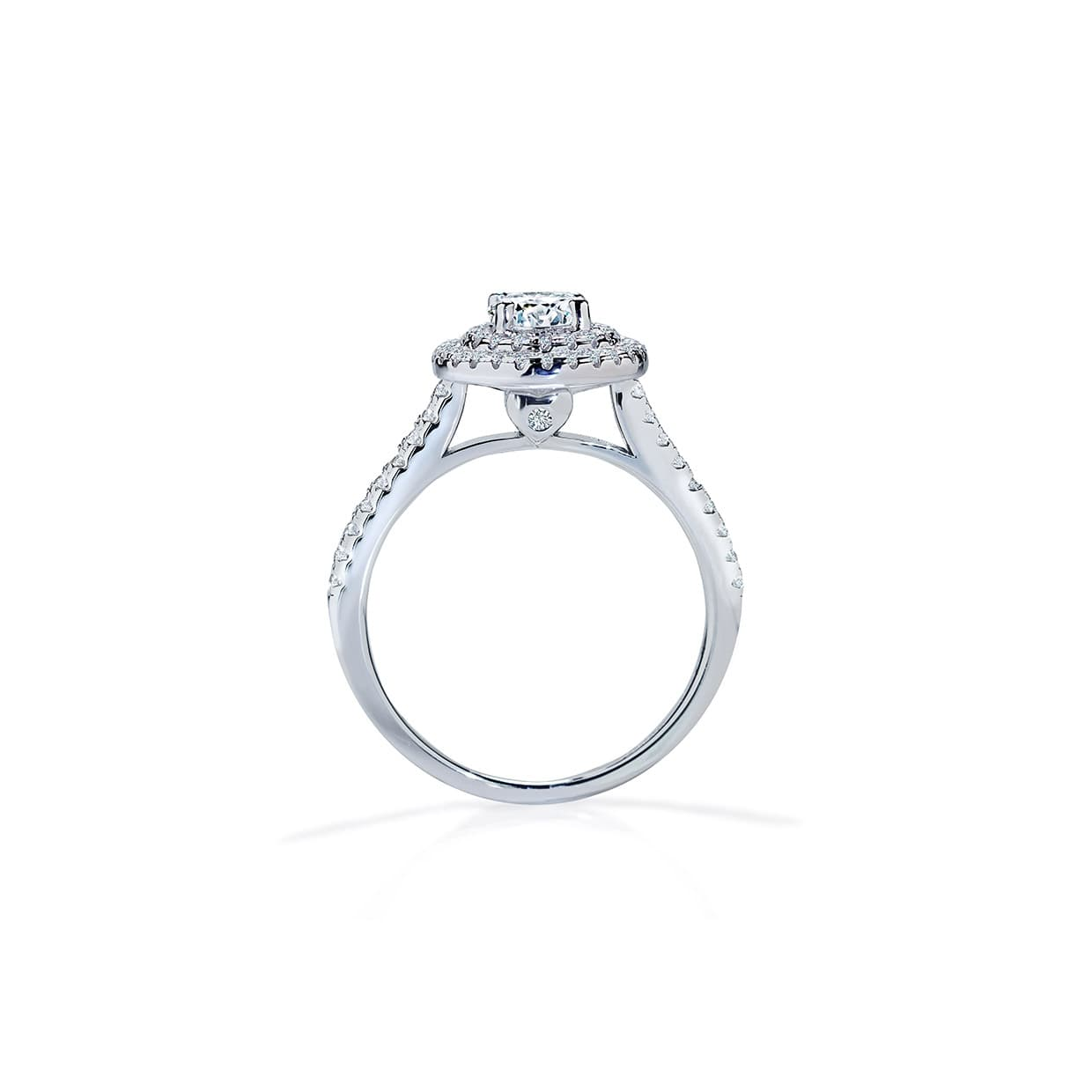 Diamond Double Halo Round White Sapphire Ring - Abelstedt