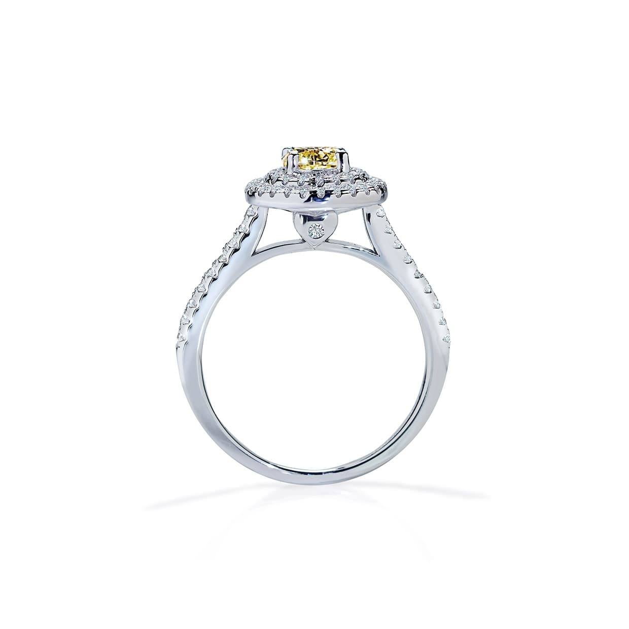 Diamond Double Halo Round Yellow Sapphire Ring - Abelstedt
