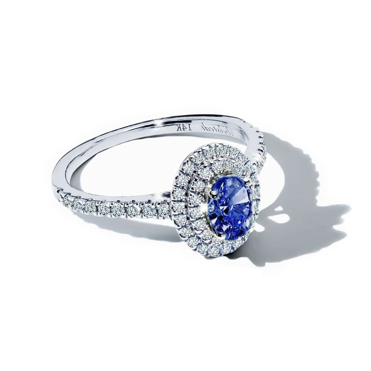 Diamond Double Oval Blue Sapphire Ring - Abelstedt