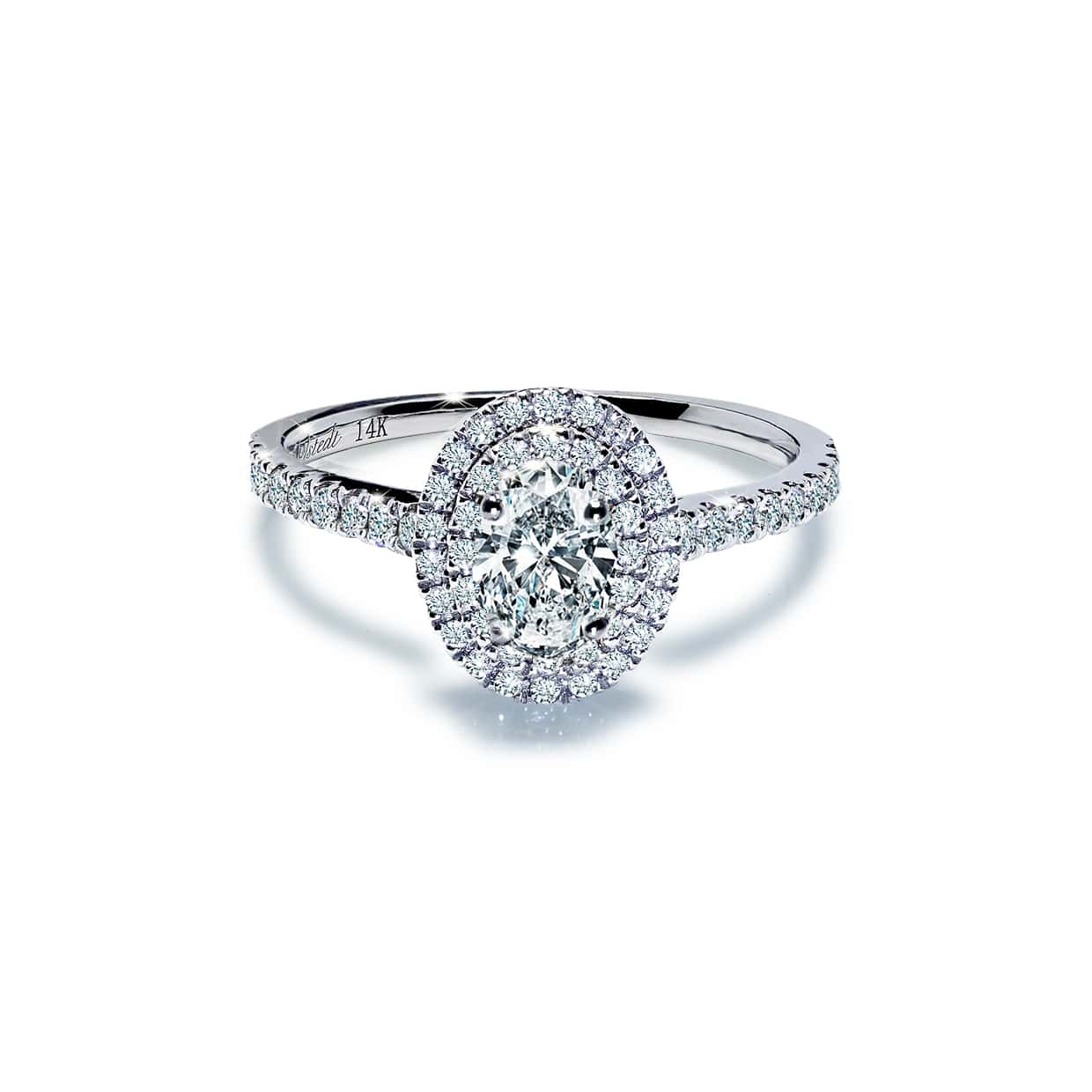 Diamond Double Oval White Sapphire Ring - Abelstedt