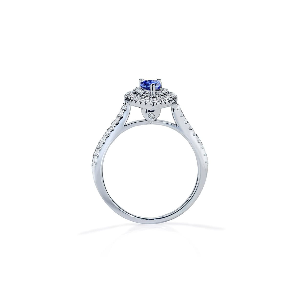 Diamond Double Pear Cut Blue Sapphire Ring - Abelstedt