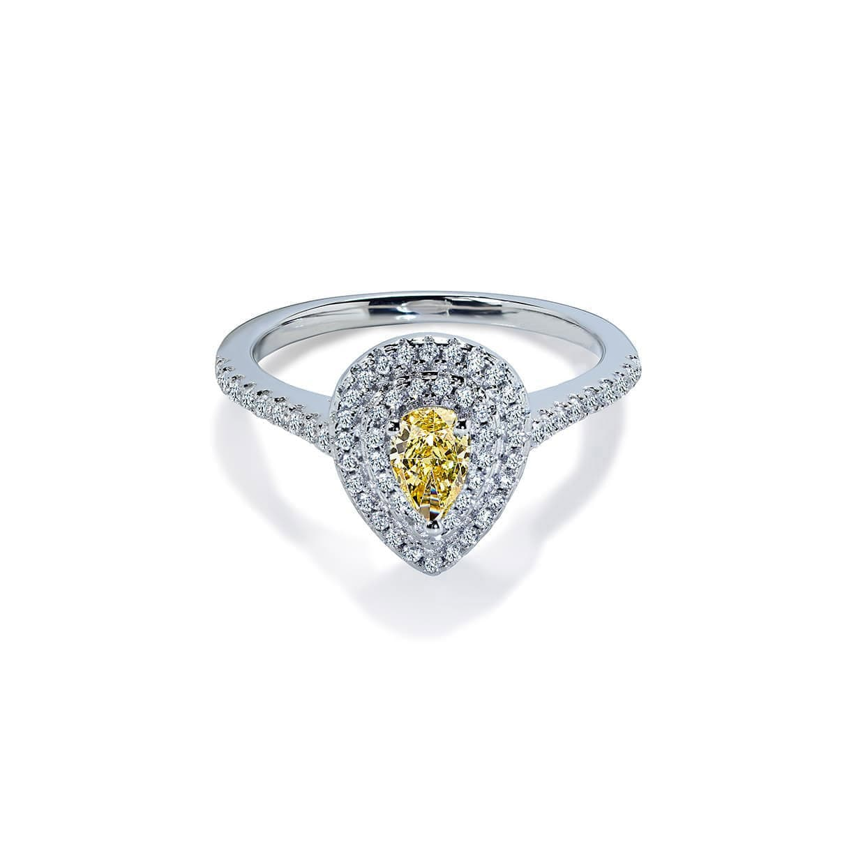 Diamond Double Pear Cut Yellow Sapphire Ring - Abelstedt