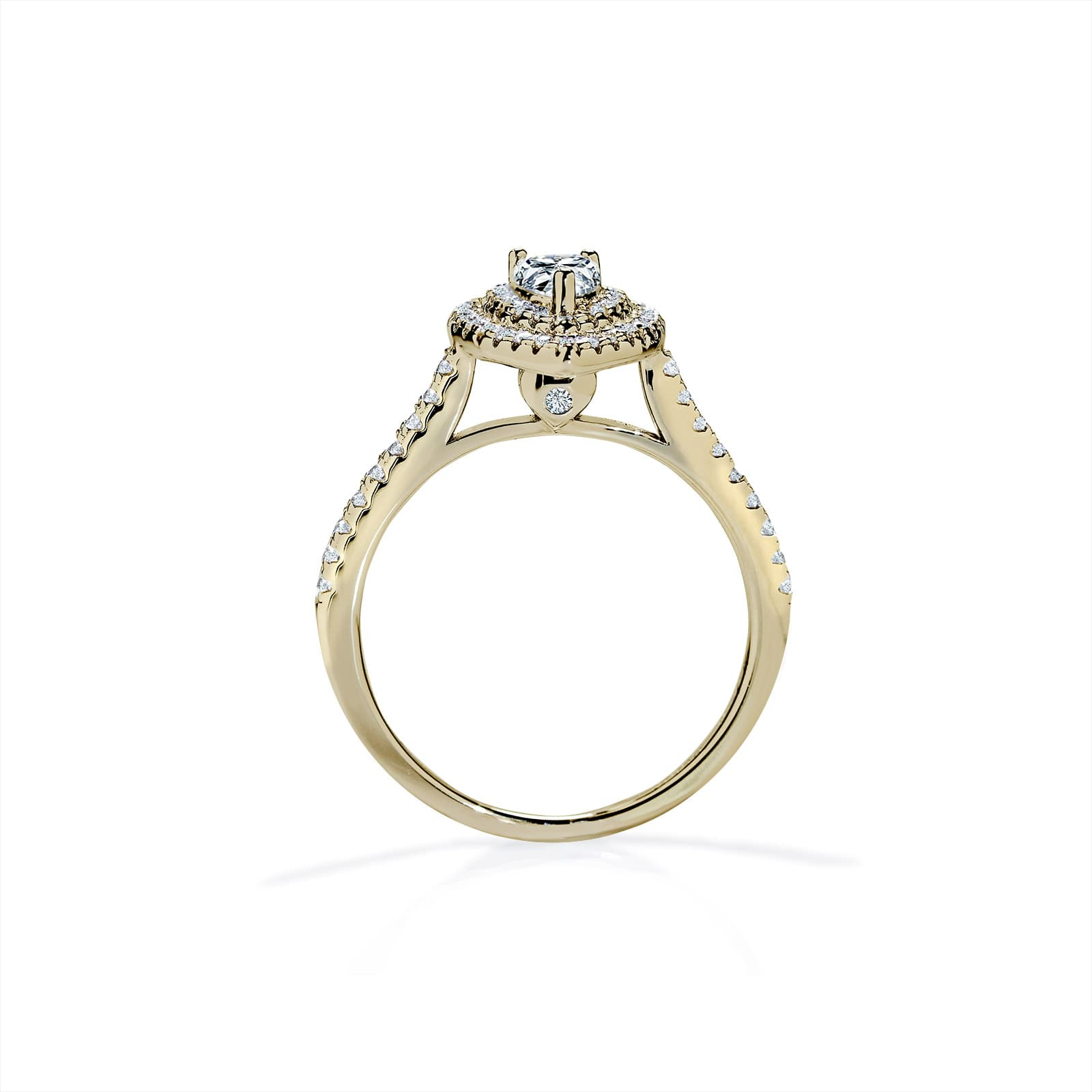 Oxford Double Halo Pear Gold Ring