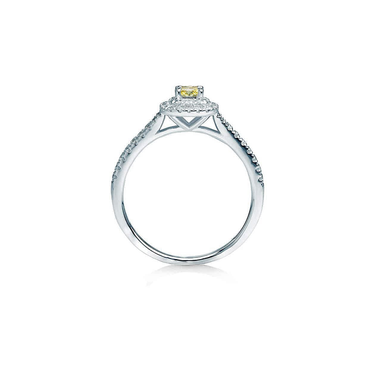 Diamond Double Yellow Cushion Ring - Abelstedt