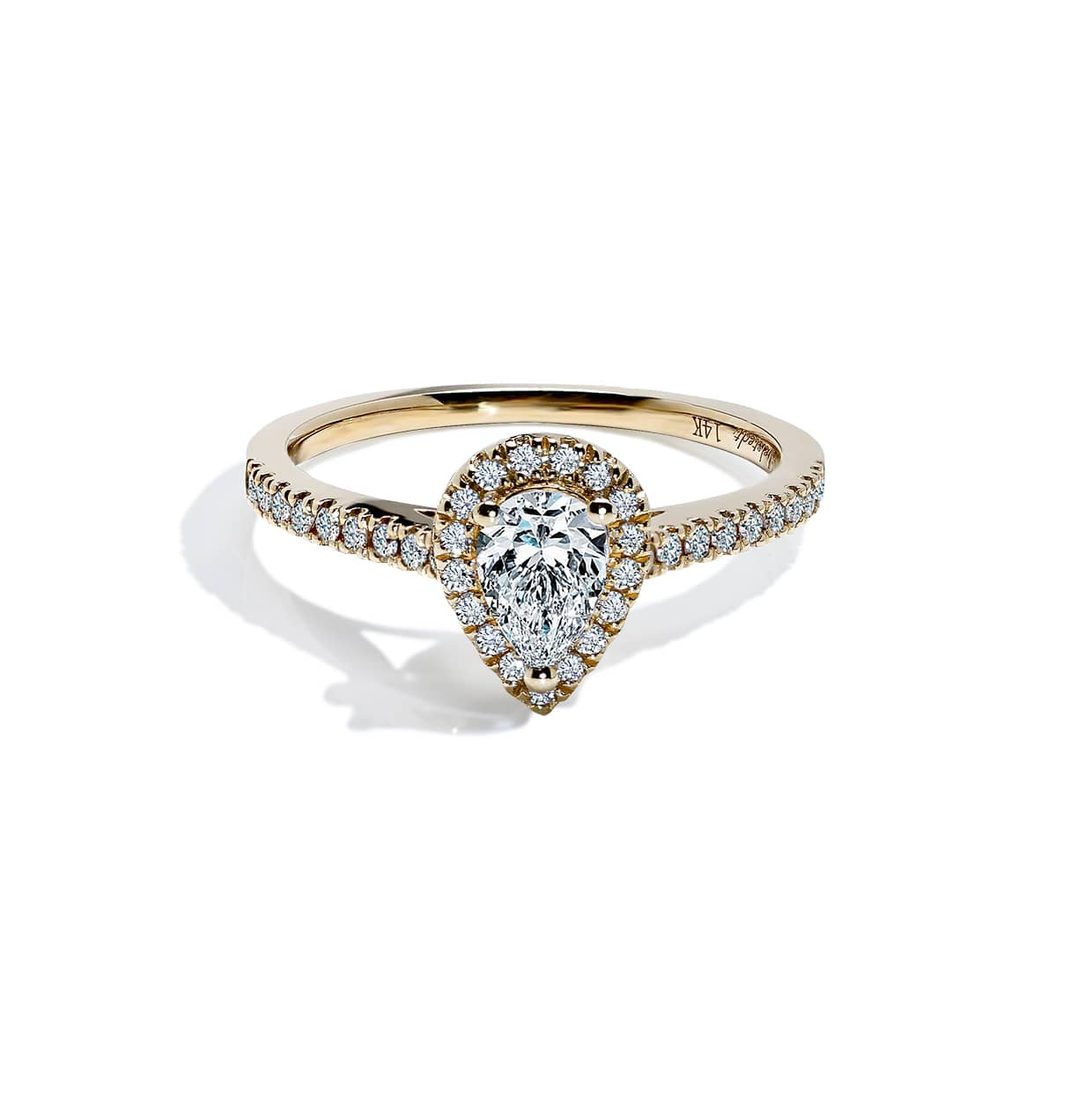 Diamond Pear Cut Ring Gold - Abelstedt