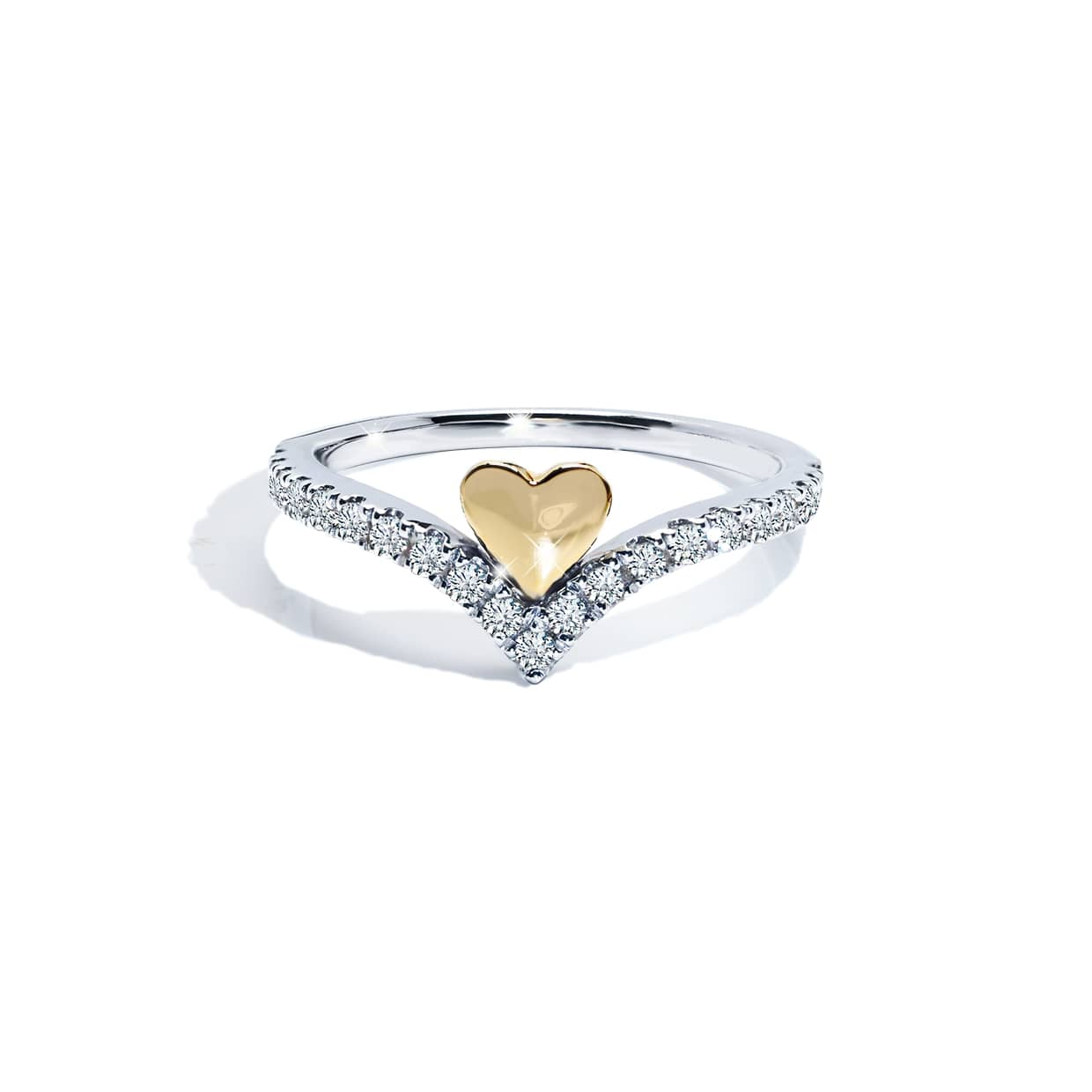 Diamond V Heart Band Ring - Abelstedt