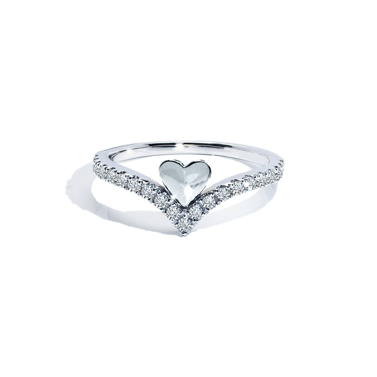 Diamond V Heart Band Ring White Gold - Abelstedt