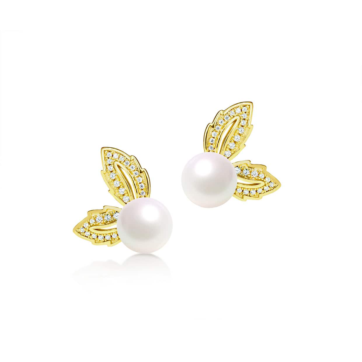 Flora Gold Leaf Freshwater Pearl Earrings - Abelstedt
