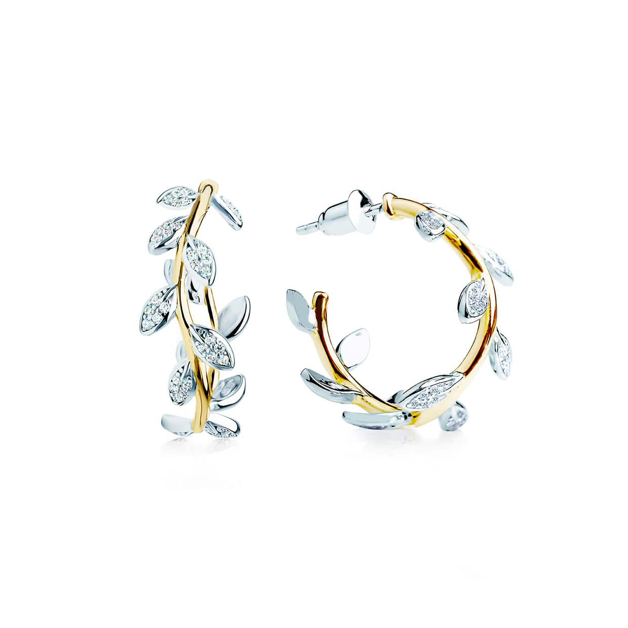 Flora Gold & Silver Leaf Hoop Earrings - Abelstedt