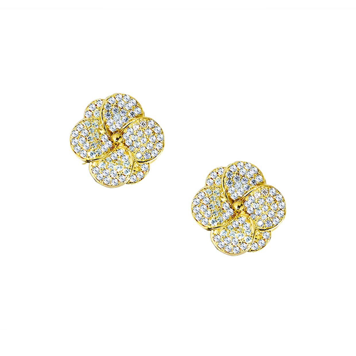 Flora Gold White Flower Earrings - Abelstedt