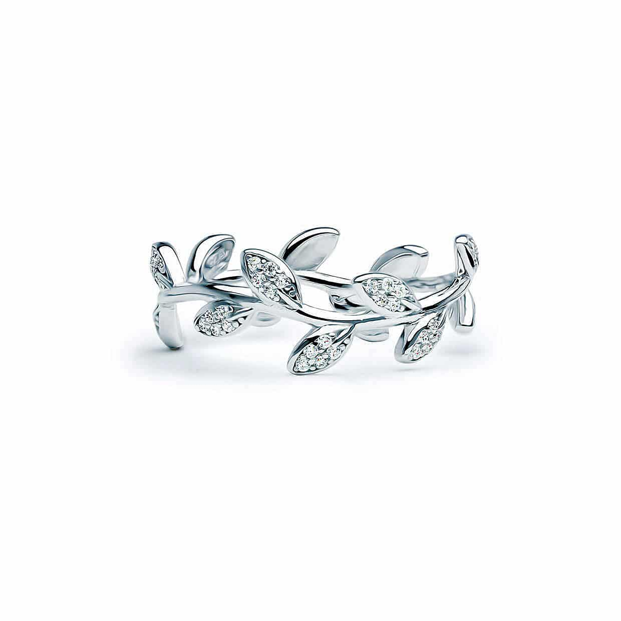 Details about  /Art Nouveau Flower and Leaf Design 925 Silver White Sapphire Full Eternity Ring