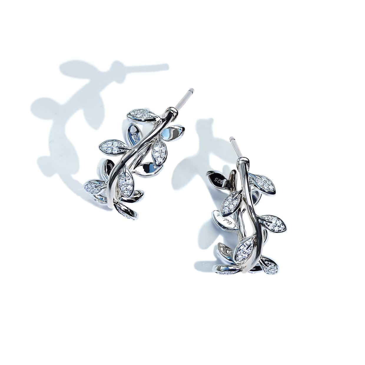 Flora Silver Leaf Hoop Earrings - Abelstedt