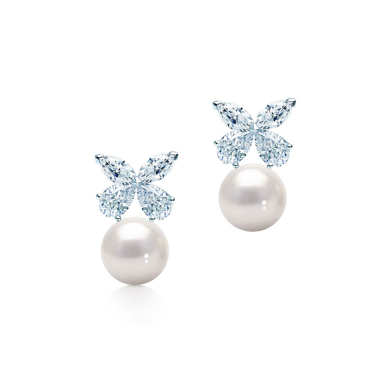 Flora Silver Marquise & Pear Cut Freshwater Pearl Earrings - Abelstedt