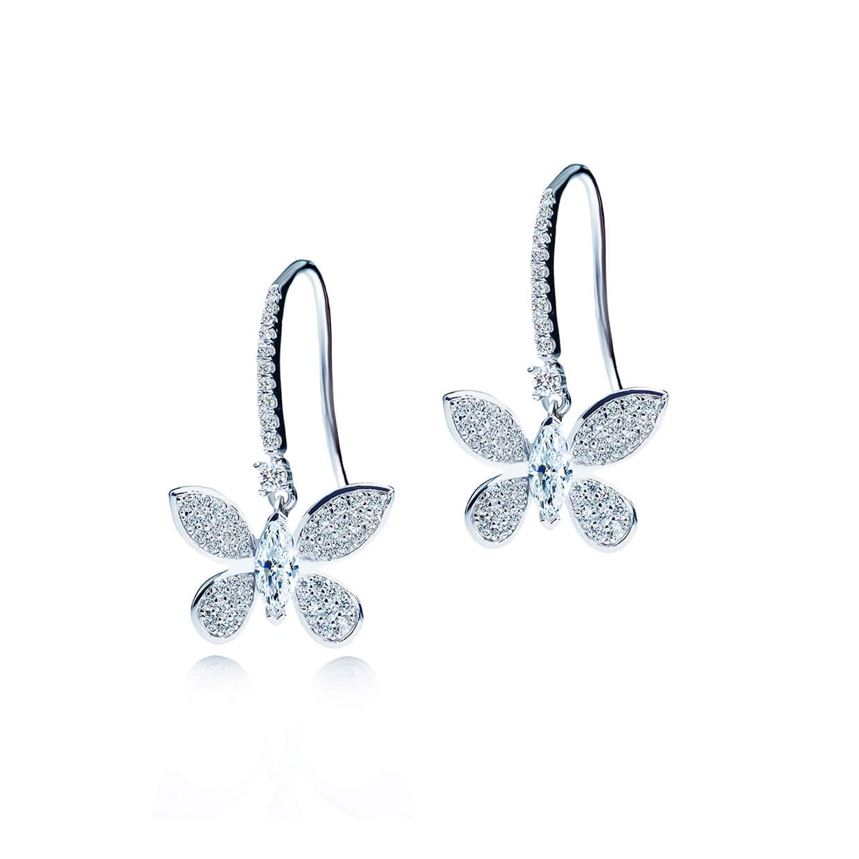 Flora Silver Moveable Butterfly Earrings - Abelstedt