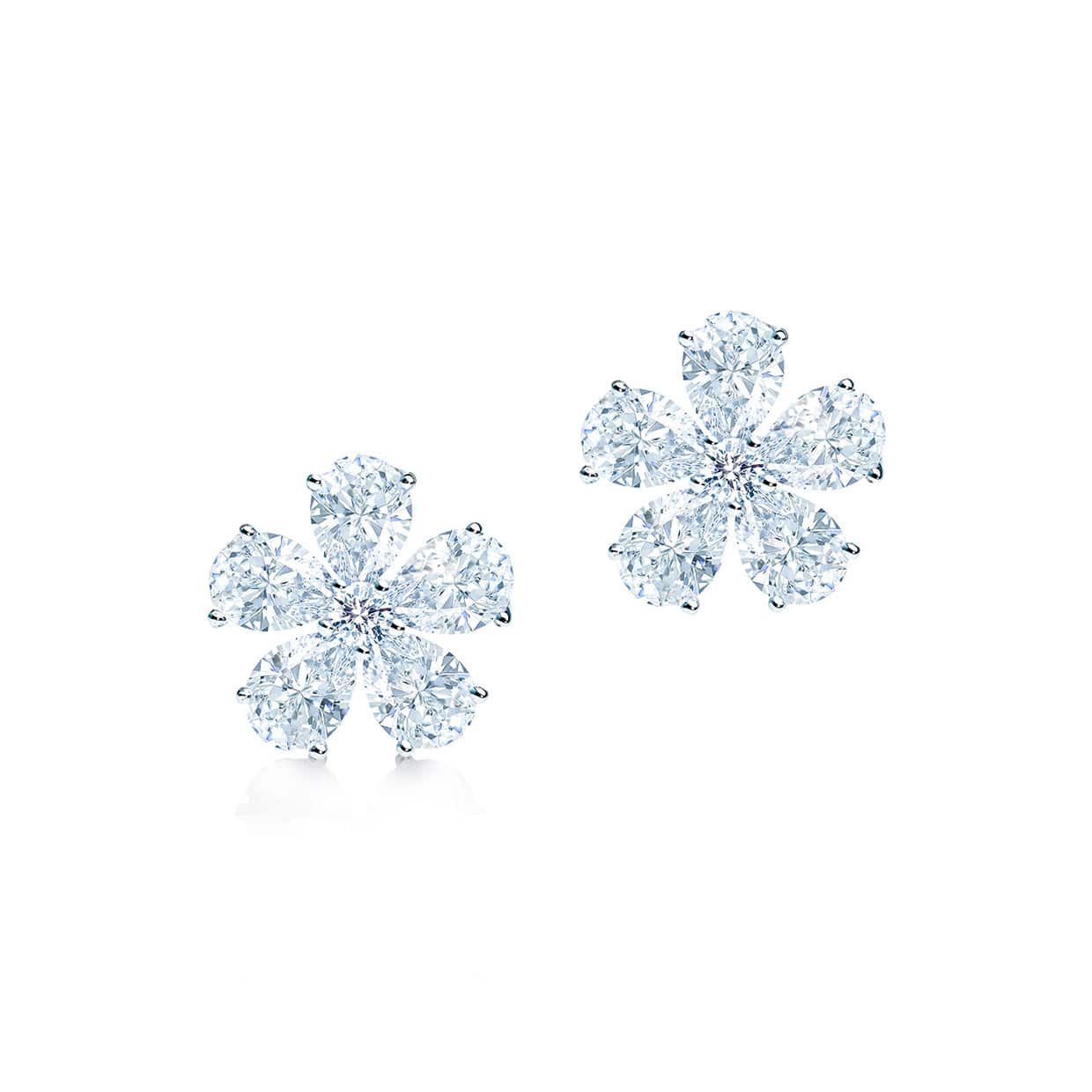 Flora Silver Pear Cut Flower Earrings - Abelstedt